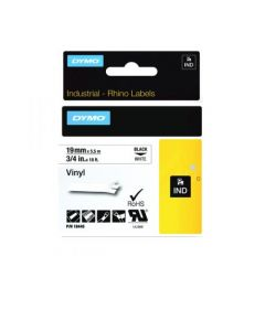 DYMO INDUSTRIAL RHINO LABELS 19MM X 5.5 M 3/4 IN X 18 FT BLACK WHITE