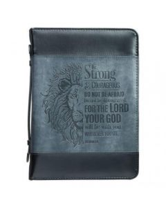 Be Strong Lion Two-Tone Black Bible Cover Large - Joshua 1:9