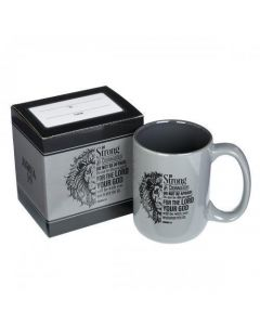 "Taza de Ceramica ""Be Strong"" Color Gris con Versiculo Josue 1:9, 15 onzas"