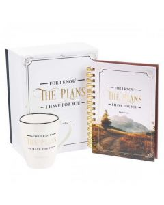 "Juego de Regalo ""I Know The Plans Journal"" - Incluye Caja Decorada, Taza y Diario con Versiculo Biblico"