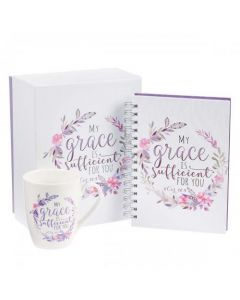 "Juego de Regalo "" My Grace Is Sufficient For You"" - Incluye Caja Decorada, Taza y Diario con Versiculo Biblico"