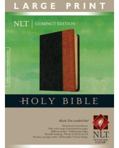 Bible NLT Large Print Compact Imitation Leather Black Tan