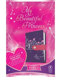 Bible NLT My Beautiful Princess Imitation Leather Purple Crown Pink Heart Magnetic Closure