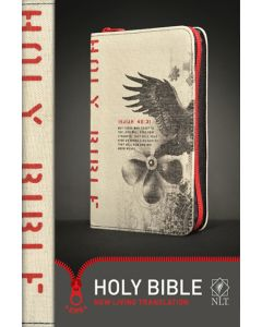 Bible NLT Zips Canvas Cover Red Zipper