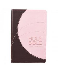 Biblia (KJV) King James Version, Tamaño Manual, Color Duo Cafe Rosa, Imitacion Piel, Canto Plata
