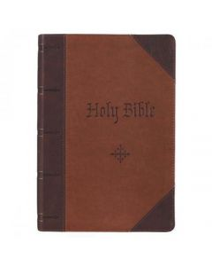 Biblia (KJV) King James Version, Tamaño Grande, Imitacion Piel Color Cafe Con Indice, Canto Dorado