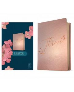 Biblia Devocional Thrive NLT (ingles) Tamaño Manual, Sentipiel Color Rosa Metalico