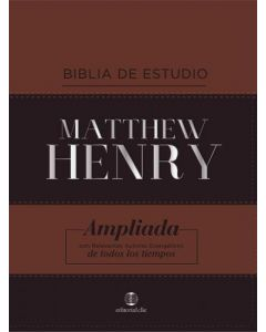 Biblia de Estudio Matthew Henry en piel, color cafe duo tono